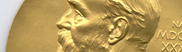 Close-up photo of Nobel medal