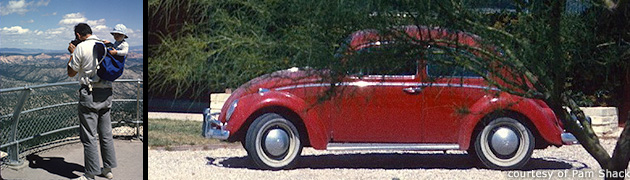 Roland and David Shack at Bryce Canyon; a red Volkswagen Beetle