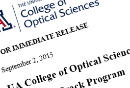College of Optical Sciences Press Releases