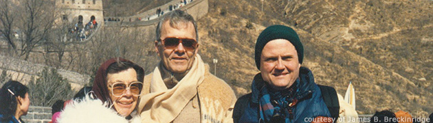 Marjorie and Aden Meinel with Jim Breckinridge on a trip to the Great Wall of China in 1987