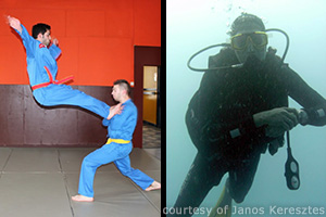 Collage of Janos practicing martial arts with a partner and Janos scuba-diving