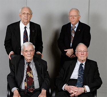 Nico Bloembergen at his 90th birthday, with Roy Glauber, John Hall, and Charles Townes