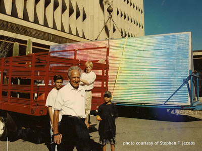 Stephen F. Jacobs mounts a 50' Wavy Diffraction Grating to the top of Tucson City Hall